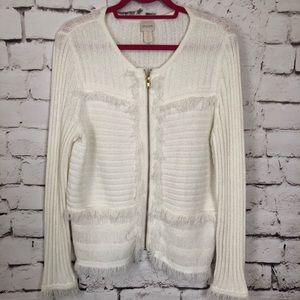 Chico's Zip Front Fringed Cream Cardigan Size 2 LG